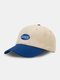 Unisex Cotton Letters Embroidery Label Color-match Patchwork All-match Sunscreen Baseball Cap - Blue
