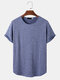 Mens Solid Color Knitted Short Sleeve Basics T-Shirt - Blue