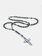 Vintage Natural Stone Men Necklace Cross Pendant Beaded Long Sweater Chain Jewelry Gift - Black