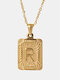 Vintage Gold Square Stainless Steel Letter Pattern Pendant - R