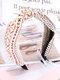Vintage Ethnic Argyle Pattern Tie Lace Cloth Headband - Beige