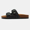 Large Sizes Women Metal Deocr Flats Slippers - Black