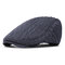 Men Thickening Adjustable Cotton Solid Warm Breathable Vintage Wool Knitting Beret Cap - Gray