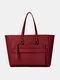 Soild Multifunction Tote Detachable Long Shoulder Strap Front Phone Bag Design Waterproof  Handbag - Wine Red