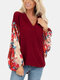 Calico Patchwork V-neck Lantern Sleeve Plus Size Blouse for Women - Red