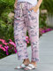 Camouflage Printed Elastic Waist Side Pockets Casual Pants - Pink
