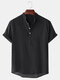 Mens Breathable Flax Stand Collar Short Sleeve Solid Henley Shirt - Black