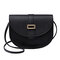 Women Solid Casual PU Crossbody Bag Shoulder Bag - Black