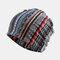 Vintage Multi-striped Rhombus Ethnic Cotton Beanie Hat Good Elastic Breathable Turban Caps - Blue