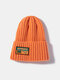 Unisex Knitted Solid Color Letter Pattern Sew Cloth Steeple Brimless Flanging Outdoor Warmth Beanie Hat - Orange Yellow