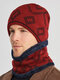 Men 2PCS Plus Velvet Thick Winter Outdoor Keep Warm Neck Protection Headgear Scarf Knitted Hat Beanie - Red