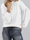 Solid Color Lantern Sleeves O-neck Casual Sweater For Women - White