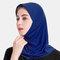 Muslim Hijab Scarf Women Solid Crystal Hemp  - Blue