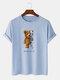 Mens 100% Cotton Bear Graphics Short Sleeve T-Shirt - Blue