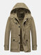 Mens Winter Thicken Fleece Lined Mid-Length Warm Parka With Removable Hood - Khaki