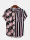 Men Coconut Print Stripe Stitching Casual Holiday Curved Hem Shirt - Pink
