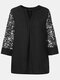 Solid Color Lace Patchwork V-neck Casual Blouse For Women - Black
