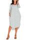 Asymmetrical Striped V-neck Plus Size Dress - Green