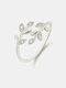 Vintage Diamond Leaf Cross Opening Metal Artificial Gemstone Rings - Silver