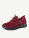 Women Sport Breathable Knitted Fabric Lace-up Casual Running Shoes - Red