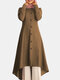 Solid Color Button Curved Hem Casual Muslim Dress for Women - Khaki
