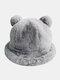 Women Faux Rabbit Fur Warm Soft Cute Casual All-match Animal Ear Pattern Bucket Hat - #10