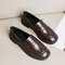 Women's Casual Solid Color Slip On Flat Loafers Shoes - Brown