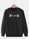 Mens Cotton Slogan Printed Plain Casual Crew Neck Pullover Sweatshirts - Black