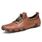 Men Genuine Leather Non Slip Soft Sole Casual Driving Shoes - Brown