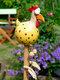 庭の芸術の装飾チキンガーデン芝生プラグ編鶏の装飾品彫像エッジシーター屋内屋外裏庭の装飾 - 黄