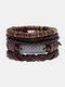 4個の多層レザーメンズブレスレットセット手織りツリーレターレディースビーズブレスレット - #24