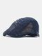 Men Cotton Letter Embroidery Mesh Breathable Adjustable Flat Hat Beret Hat Forward Hat - Navy