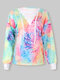 Colorful Tie-dyed Knotted V-neck Long Sleeve Casual T-shirt for Women - #01