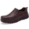 Large Size Men Classic Comfy Business Slip On Casual Leather Shoes - Brown