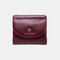Women Genuine Leather Coin 8 Card Slots Bifold Wallet Purse - Wine Red