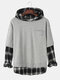 Mens Check Faux Twinset Stitching Chest Pocket Pullover Hoodies - Gray