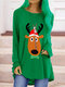 Hippocampus Print O-neck Long Sleeve Casual Plus Size Blouse - Green