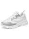 Women's Large Size Breathable Mesh Lace-up Casual Sports Shoes - White