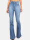 Mid Waist Casual Flare Jeans With Pocket For Women - Light Blue