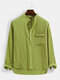 Mens Solid Color Chest Pocket Casual Basic Long Sleeve Henley Shirt - Green