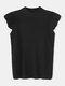 Solid Color O-neck Ruffle Sleeveless Casual Tank Top - Black