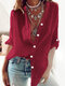 Solid Color Long Sleeve Stand Collar Casual Shirt For Women - Red
