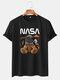 Mens NASA Space Bear Print O-Neck Casual Loose Short Sleeve T-Shirt - Black