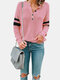 Patchwork Button Long Sleeve Casual T-Shirt For Women - Pink