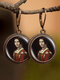 Vintage Round Glass Printed Ear Hooks Alloy Oil Painting Pendant Earrings - #08