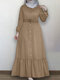 Solid Color Button Pleated Waistband Long Sleeve Casual Muslim Dress - Khaki