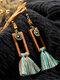 Vintage Bohemian Geometric Rectangular Tassel Wooden Alloy Earrings - #01