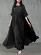 Women Solid Color Patchwork Half Sleeves Casual Maxi Dress - Black
