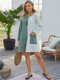 Contrast Color Pocket O-neck Long Sleeve Casual Dress for Women - Green