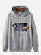 Mens Machine Hand Graphic Print Cotton Casual Drawstring Pullover Hoodie - Gray